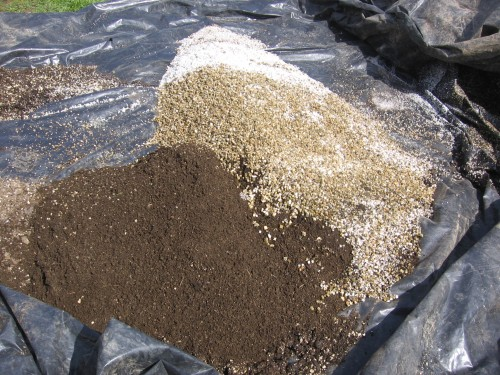 We make potting soil from sifted finished compost, perlite, vermiculite, and peat moss.