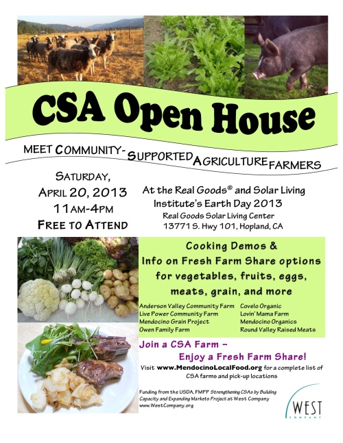 Saturday, April 20 - Earth Day - CSA Open House