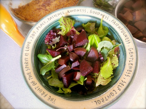 We must remember to eat our greens! Lovin' Mama Farm salad mix with our beets made a delicious lunch. Homemade pumpkin pie (our pumpkins & wheat flour of course) was finished before the end of the weekend.